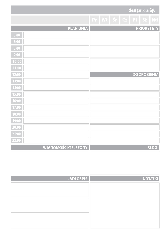 Organizer do wydrukowania - plan dnia - Designyourlife.pl