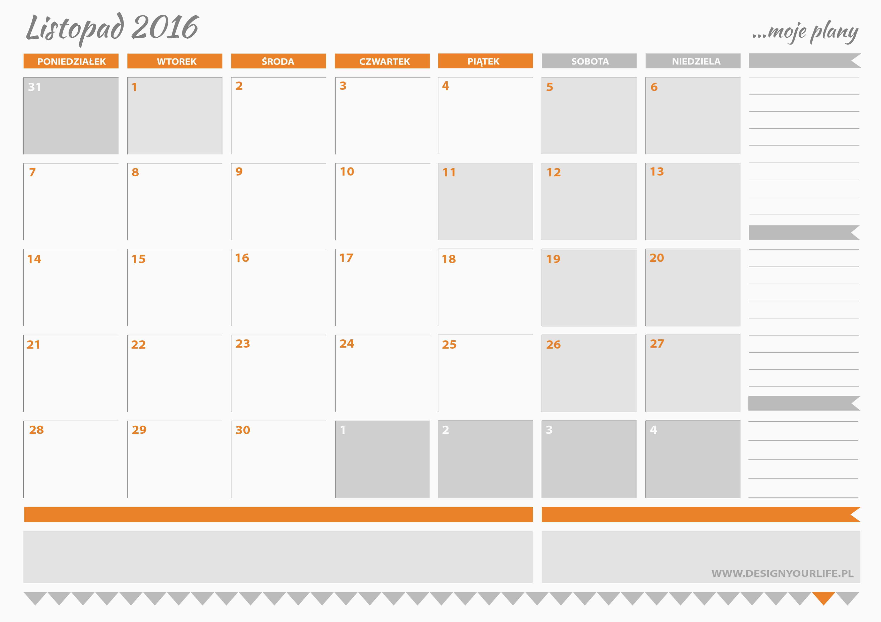Planner na Listopad 2016